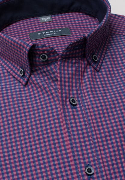 ETERNA HALF SLEEVE SHIRT MODERN FIT POPELINE BLUE/RED CHECKED
