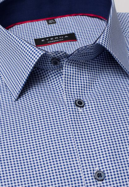 ETERNA LONG SLEEVE SHIRT MODERN FIT TWILL BLUE CHECKED
