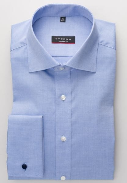 ETERNA LONG SLEEVE SHIRT MODERN FIT PINPOINT MEDIUM BLUE UNI