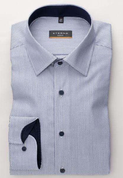 ETERNA LONG SLEEVE SHIRT SLIM FIT KETTLANCÈ NAVY / LIGHT BLUE STRUCTURED