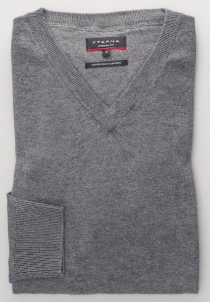 ETERNA KNIT SWEATER MODERN FIT WITH V-NECK GRAY UNI