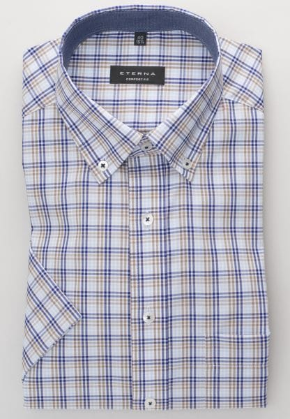 ETERNA HALF SLEEVE SHIRT COMFORT FIT OXFORD BLUE / BROWN CHECKED