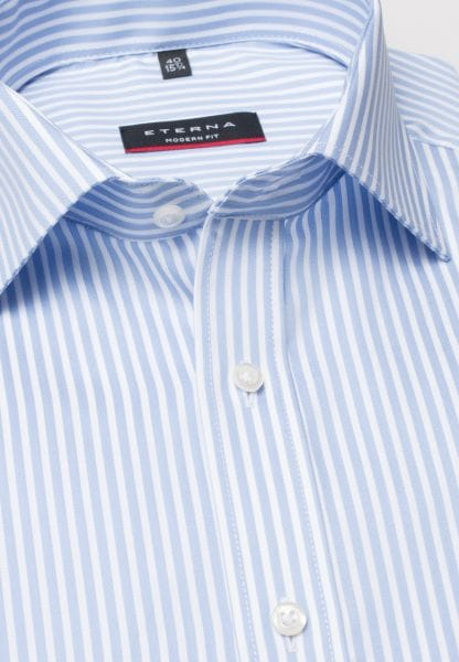 ETERNA HALF SLEEVE SHIRT MODERN FIT TWILL LIGHT BLUE / WHITE STRIPED