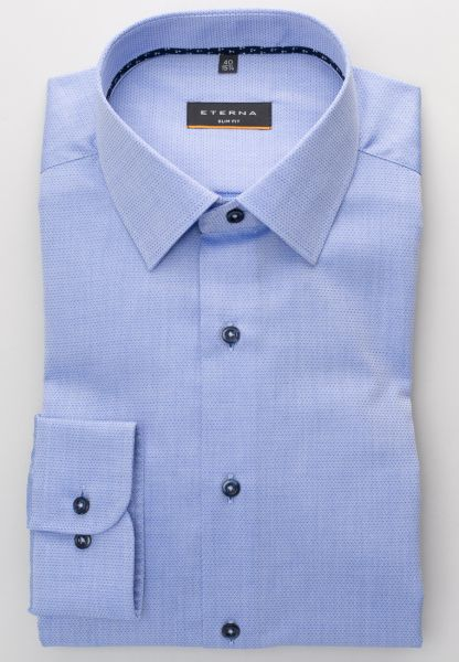ETERNA LONG SLEEVE SHIRT SLIM FIT FANCY WEAVE BLUE STRUCTURED