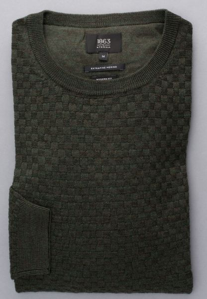 ETERNA KNIT SWEATER MODERN FIT WITH ROUND NECK KHAKI UNI