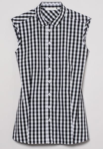 ETERNA WITHOUT SLEEVES BLOUSE MODERN CLASSIC STRETCH BLACK/WHITE CHECKED