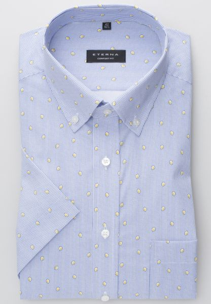 ETERNA HALF SLEEVE SHIRT COMFORT FIT POPLIN GRAPHITE / BLUE PRINTED