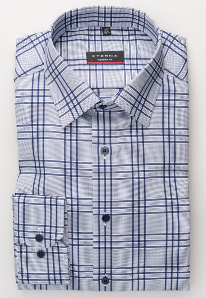 ETERNA LONG SLEEVE SHIRT MODERN FIT OXFORD BLUE/WHITE CHECKED