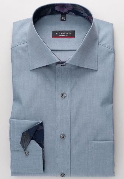 ETERNA LONG SLEEVE SHIRT MODERN FIT CHAMBRAY BLUE GRAY UNI