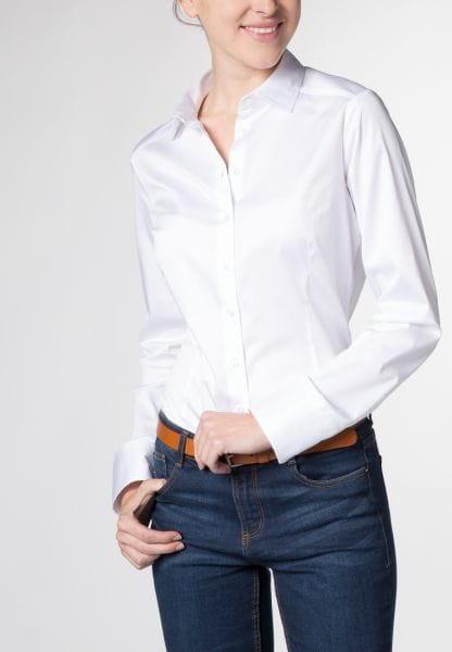 ETERNA LONG SLEEVE BLOUSE FOR TALL WOMEN SLIM FIT WHITE UNI