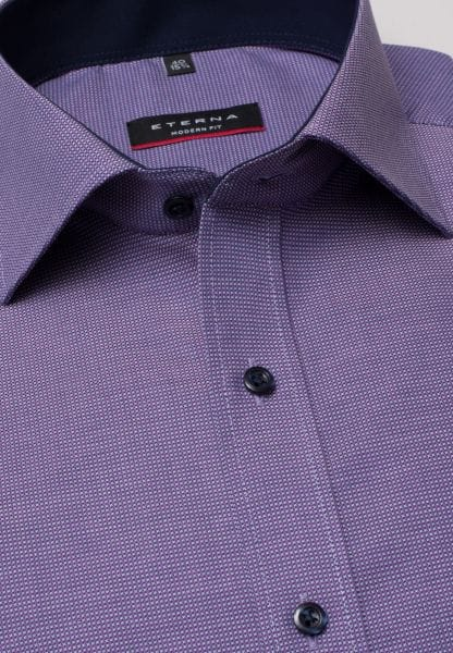ETERNA LONG SLEEVE SHIRT MODERN FIT NATTÉ PURPLE / NAVY STRUCTURED