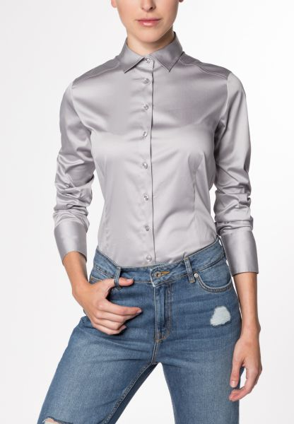 ETERNA LONG SLEEVE BLOUSE SLIM FIT STRETCH GREY UNI