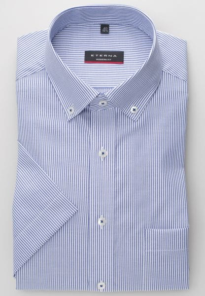 ETERNA HALF SLEEVE SHIRT MODERN FIT OXFORD BLUE/WHITE STRIPED