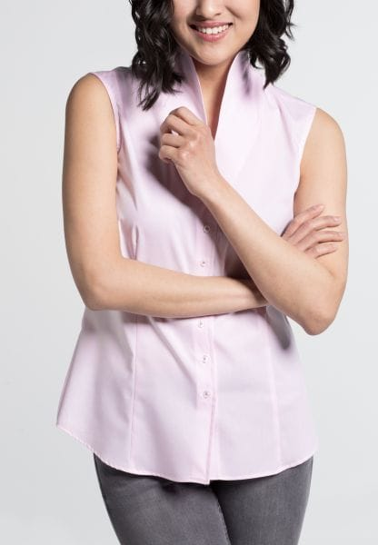 ETERNA WITHOUT SLEEVES BLOUSE MODERN CLASSIC STRETCH ROSE / WHITE STRIPED