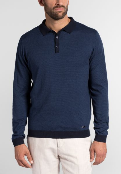 ETERNA KNIT SWEATER WITH POLO NECK BLUE UNI