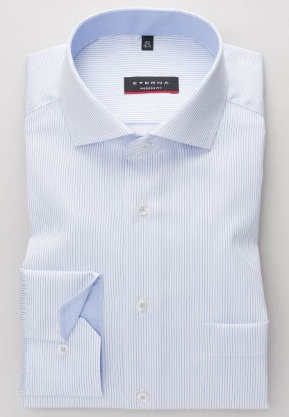 ETERNA LONG SLEEVE SHIRT MODERN FIT TWILL LIGHT BLUE/WHITE STRIPED