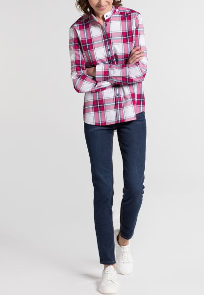 ETERNA LONG SLEEVE BLOUSE MODERN CLASSIC FLANELL BLUE/WHITE CHECKED