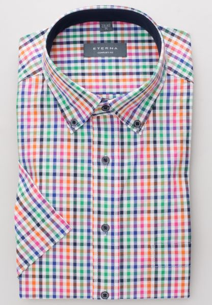 ETERNA HALF SLEEVE SHIRT COMFORT FIT POPELINE MULTICOLORED CHECKED