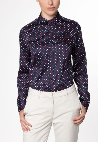 ETERNA LONG SLEEVE BLOUSE MODERN CLASSIC NAVY PRINTED