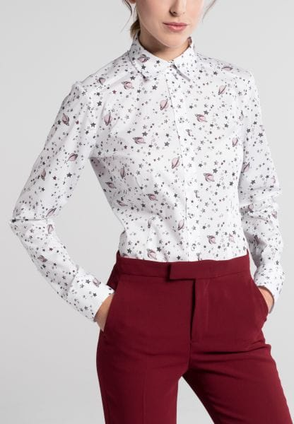 ETERNA LONG SLEEVE BLOUSE SLIM FIT WHITE / PINK PRINTED