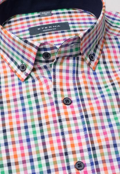 ETERNA HALF SLEEVE SHIRT MODERN FIT POPELINE MULTICOLORED CHECKED