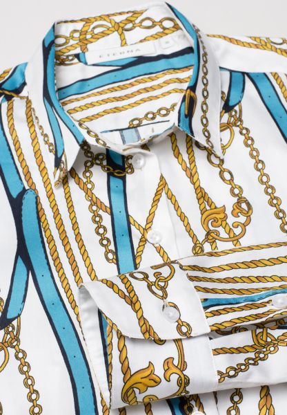 ETERNA LONG SLEEVE BLOUSE MODERN CLASSIC TURQUOISE / WHITE / GOLD PRINTED