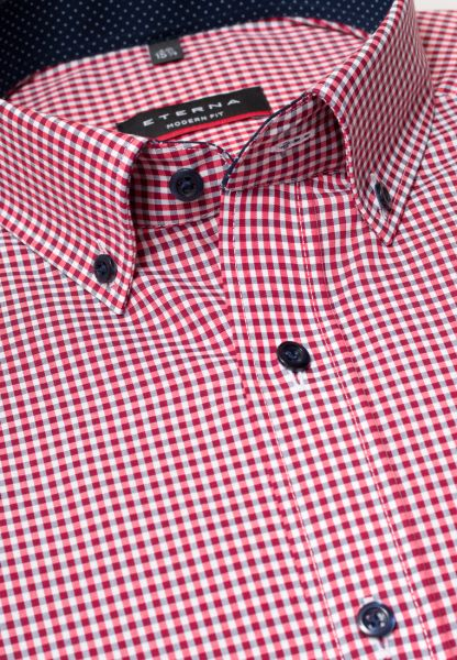 ETERNA LONG SLEEVE SHIRT MODERN FIT POPLIN RED CHECKED