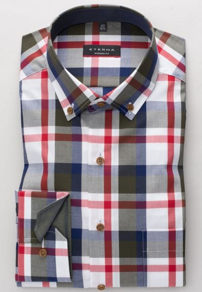 ETERNA LONG SLEEVE SHIRT MODERN FIT POPLIN OLIVE / RED / WHITE CHECKED