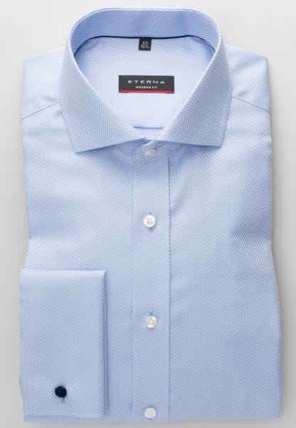 ETERNA LONG SLEEVE SHIRT MODERN FIT FANCY WEAVE LIEGHT BLUE STRUCTURED
