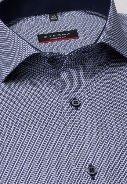 ETERNA HALF SLEEVE SHIRT MODERN FIT FANCY WEAVE DARK BLUE STRUCTURED