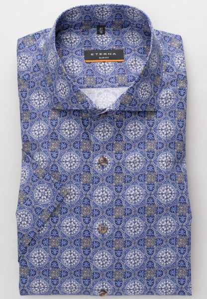 ETERNA HALF SLEEVE SHIRT SLIM FIT POPLIN BLUE / BEIGE PRINTED