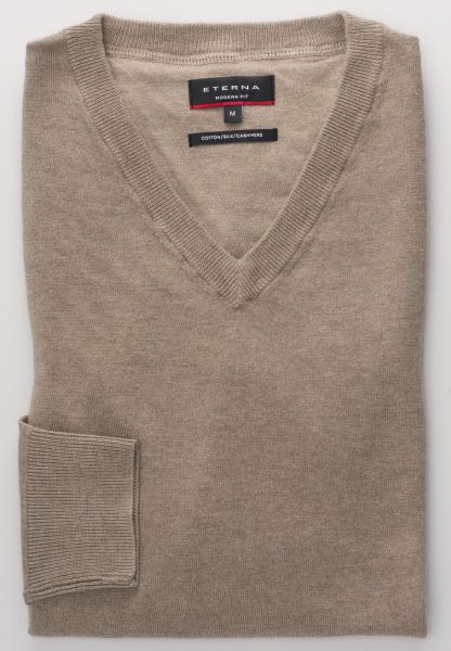 ETERNA KNIT SWEATER MODERN FIT WITH V-NECK TAUPE UNI