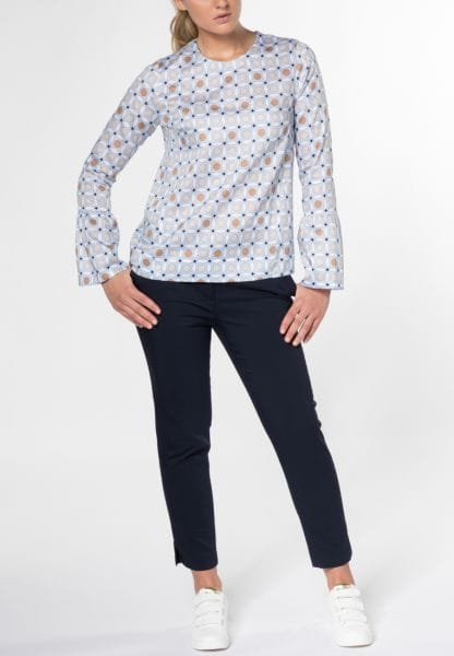 LONG SLEEVE BLOUSE 1863 BY ETERNA - PREMIUM LIGHT BLUE PRINTED