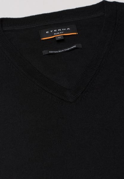 ETERNA KNIT SWEATER SLIM FIT WITH V-NECK BLACK UNI