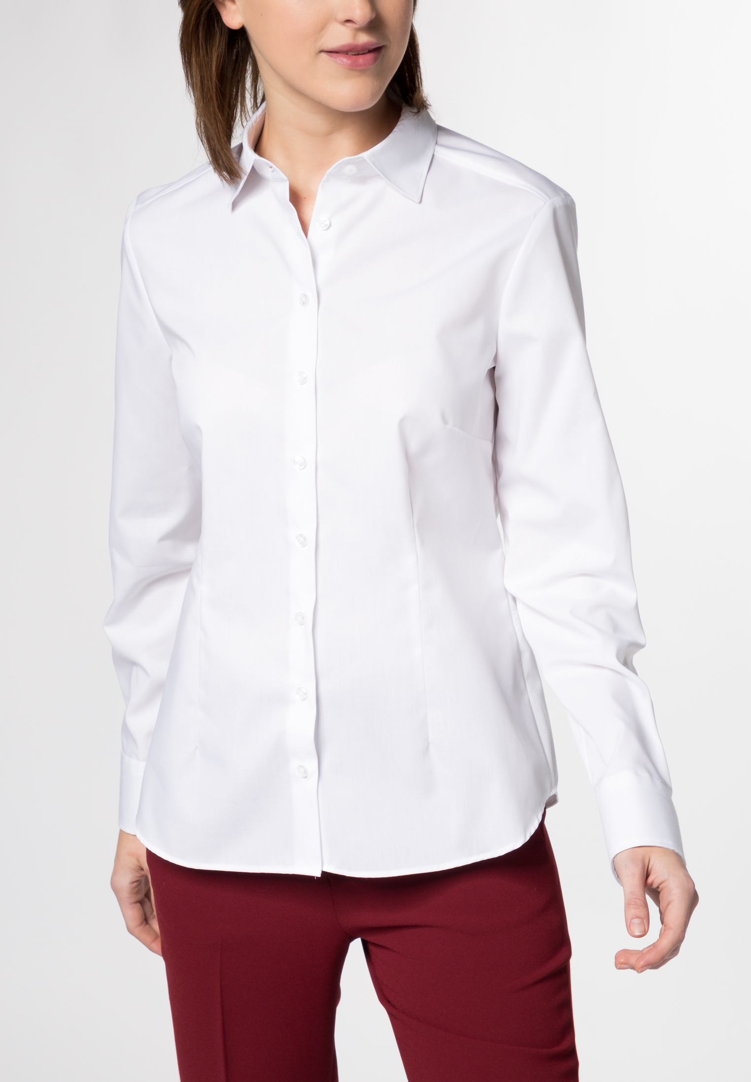 Classic style shirts can provide the simple base around which other wardrobe looks are built with the additions of jewelry, accessories, sweaters, jackets, or more elaborate bottoms. Or they can be integrated into a modern classic style that is simple, yet chic.